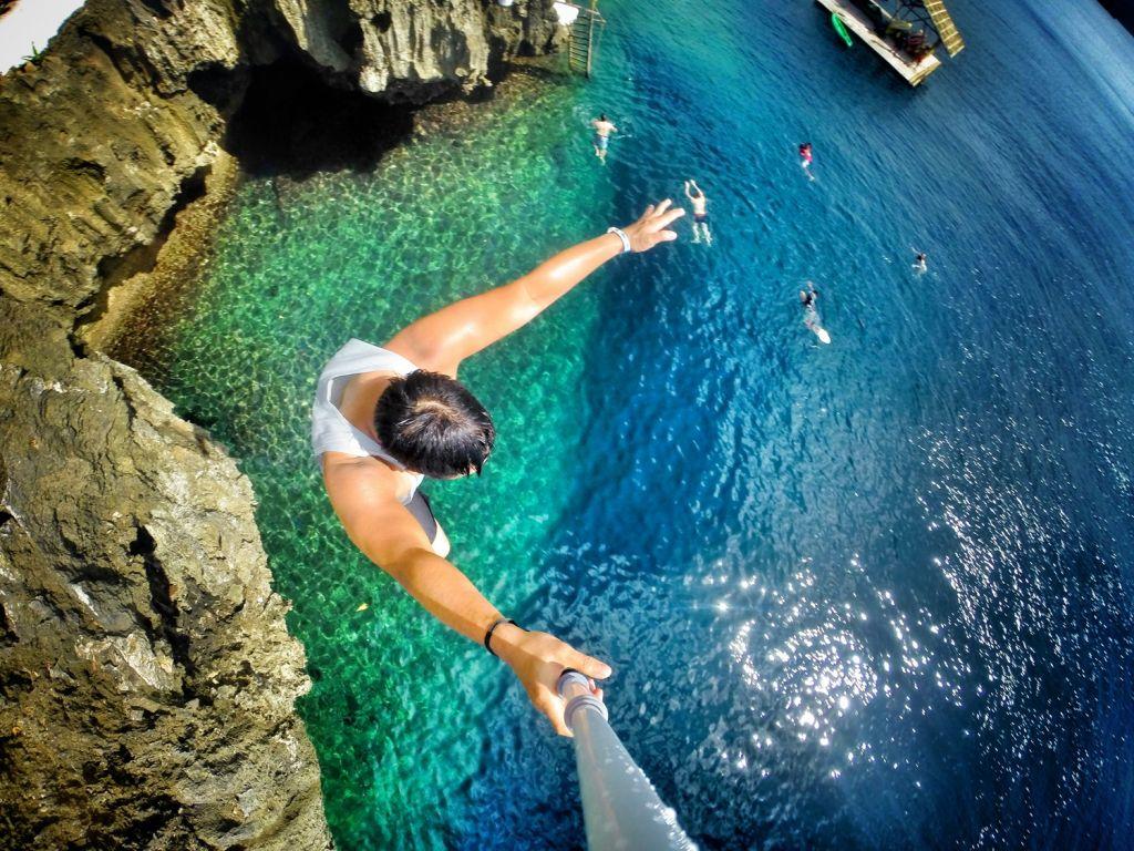 Cliff diving Boracay Island