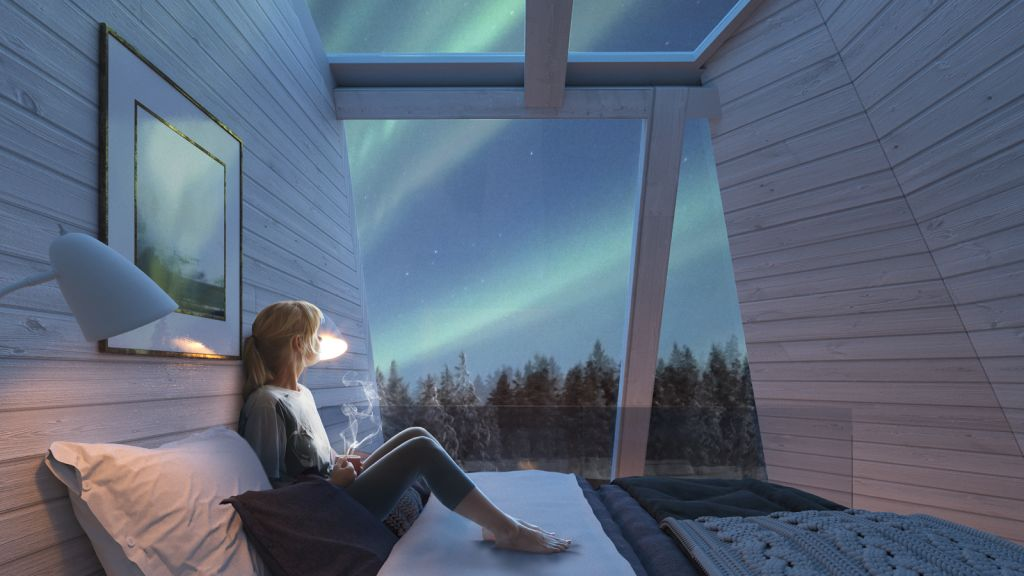 Glass Resort at Snowman World Rovaniemi auroras