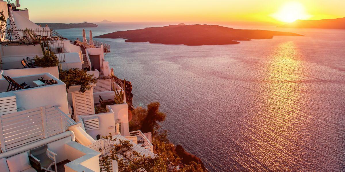 enjoy the stunning sunset in Santorini